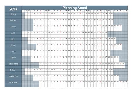 sat: 2013 Spanish calendar. Annual Planner. Week starts on Monday