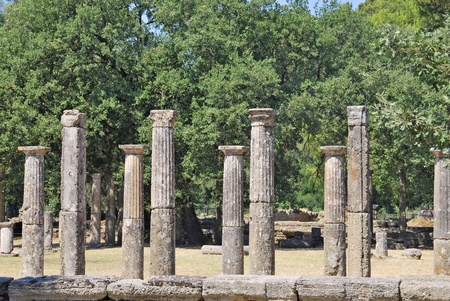 Remains of columns in the city of Olympia. Greece photo