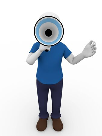 talks: A man is holding a megaphone and talks through it Stock Photo