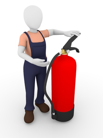 A man with an extinguisher painted in red. Fire-fighting equipment. photo