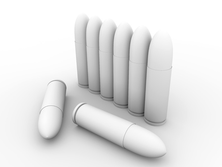 3d render of a group of bullets in white photo