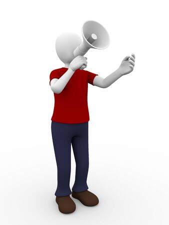 A man is holding a megaphone and talks through it Stock Photo