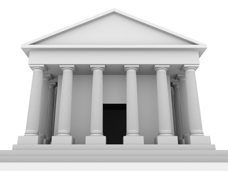 Front view of an antique greek temple. 3d Render