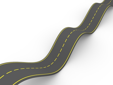 Illustration of a curvy road making waves. 3d render illustration