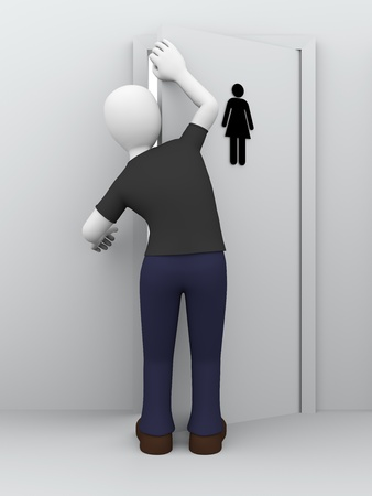 furtively: A man is peeping behind the door of womens toilet