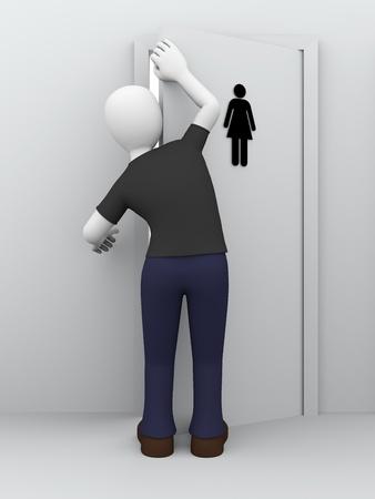 water closet: A man is peeping behind the door of womens toilet