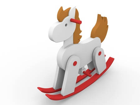 rocking: A toy horse painted in red, brown and white