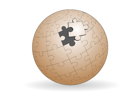 A spherical jigsaw is almost solved. Business concept Vector