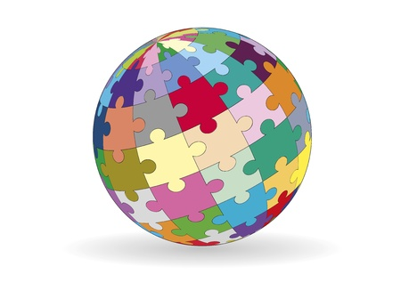 A sphere made with puzzle pieces in various colors.
