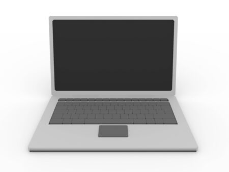 3d render of a laptop. Portable computer. Front view photo