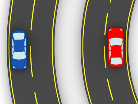 Curvy road with two cars. Traffic concept Stock Photo - 16182680