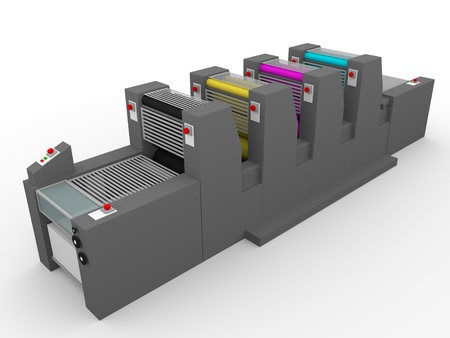 A commercial printing press with four modules, one for each color. Magenta, cyan, yellow and black.
