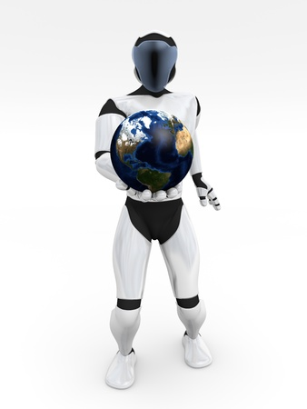 technologic: An humanoid is holding the world. Technologic concept
