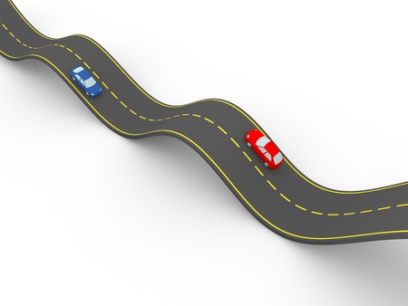 waved road wtih two cars. 3d illustration Stock Illustration - 16182653