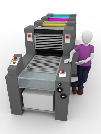 estampado: Un trabajador de la imprenta con su m�quina Foto de archivo