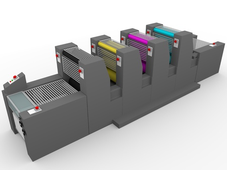 A commercial printing press with four modules, one for each color: Magenta, cyan, yellow and black. Stock Photo