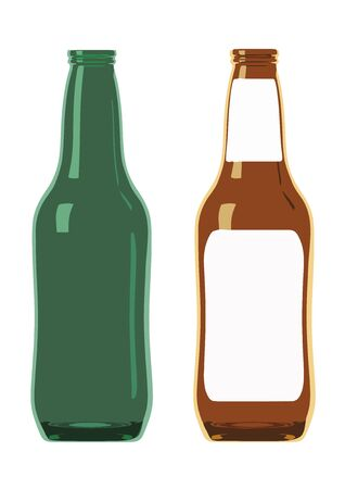 Illustration of two beer bottles in amber and green. One has a blank label Stock Vector - 16299439