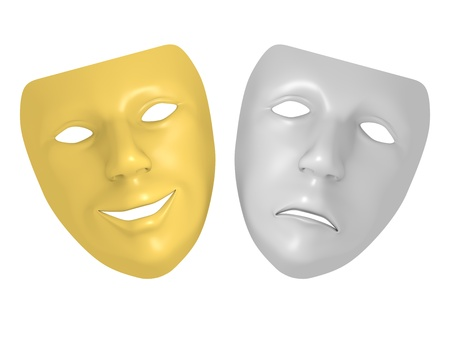 pantomima: La tragedia y la comedia máscara. Triste y expresión sonrisa. Símbolos de Cine