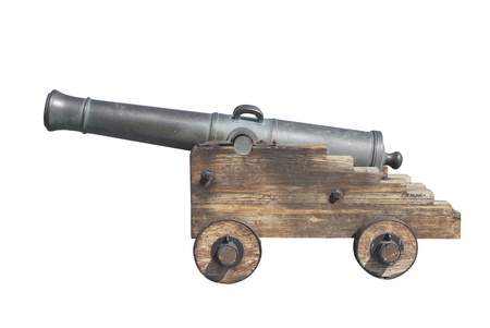 gunnery: Spanish old cannon isolated over a white background