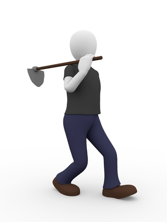 farming tools: A man is walking with a hoe
