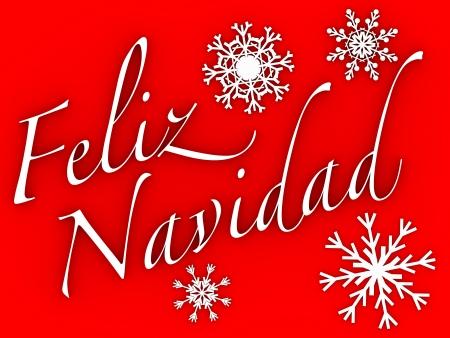feliz: Feliz navidad. Words and snowflakes in white over a red background