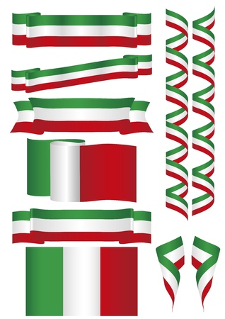 Some flags and banners with Italian colors