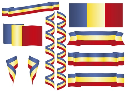 romanian: Romanian banners, flags and ornaments in blue, yellow and red