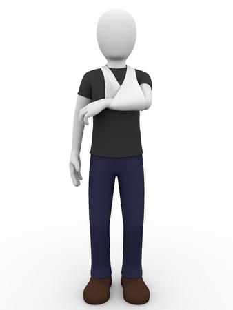 draagdoek: een man met een arm in een mitella