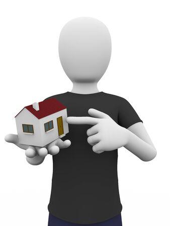 investment real state: Un hombre sostiene una pequeña casa en la mano. Inmobiliaria, finanzas, y el concepto de inversión