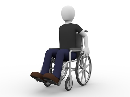 A man seated in a wheelchair  Concept of handicap photo