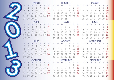 2013 calendar in spanish. File easy to edit and apply Stock Vector - 17226350