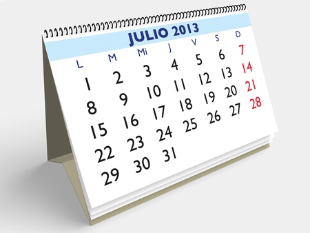 July month in an Spanish calendar. Year 2013. 3d render photo