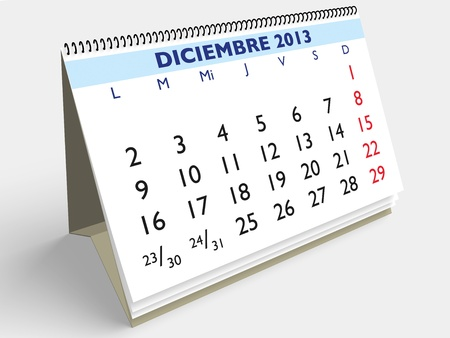 December month in an Spanish calendar. Year 2013. 3d render photo