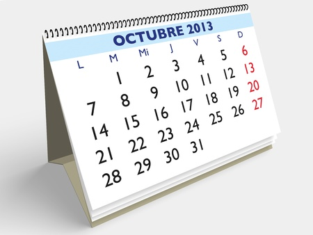October month in an Spanish calendar. Year 2013. 3d render Stock Photo - 17280163