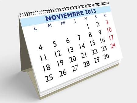November month in an Spanish calendar. Year 2013. 3d render Stock Photo - 17280162