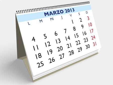March month in an Spanish calendar. Year 2013. 3d render Stock Photo - 17280164