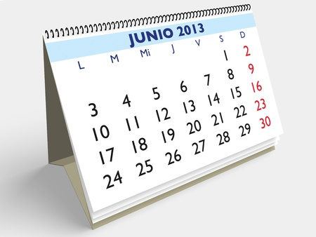 June month in an Spanish calendar. Year 2013. 3d render Stock Photo - 17280175