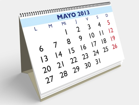 May month in an Spanish calendar. Year 2013. 3d render Stock Photo - 17280169