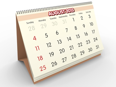 August sheet in a Calendar for 2013  3d render Stock Photo - 17280179