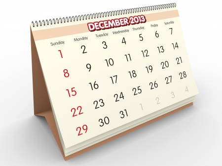 December sheet in a Calendar for 2013  3d render Stock Photo - 17280197