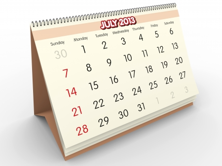 July sheet in a Calendar for 2013  3d render Stock Photo - 17280170