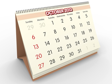 October sheet in a Calendar for 2011  3d render Stock Photo - 17272319