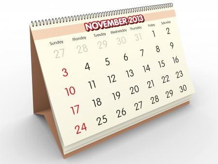 November sheet in a Calendar for 2013  3d render Stock Photo - 17280198