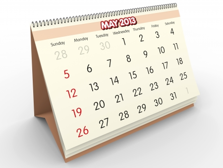 May month in an Spanish calendar  Year 2013  3d render Stock Photo - 17280173