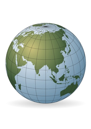 map of asia: Asia map.  Australia, Russia, Africa, North pole Stock Photo