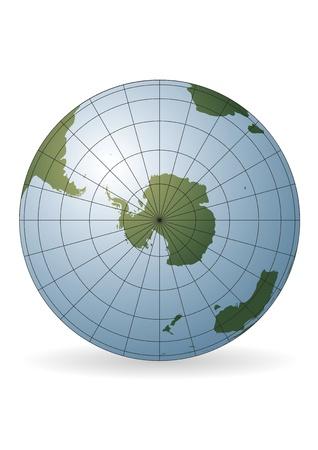 South Pole map. Antarctica, Australia, America, Africa. photo
