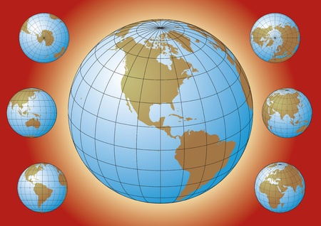 Set of Earth globes. Map of the world. Design elements Stock Vector - 17689886