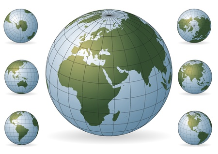 Set of icons of the Earth with various rotations. Maps of the world. Design elements Vettoriali