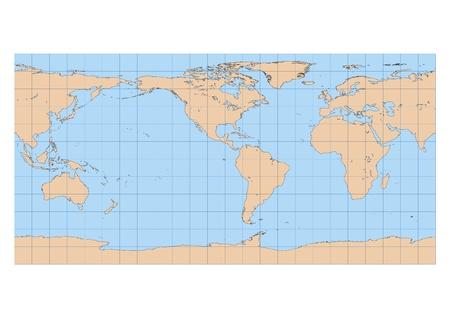Mapa detallado de muy alta del mundo en proyección Equirectangular con retícula centrada en el continente americano