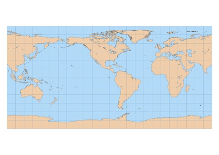 Very high detailed map of the world in Equirectangular projection with graticule  Centered in the American continent Vector